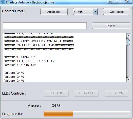 Application JAVA NetBeans pour Contrôler un ARDUINO